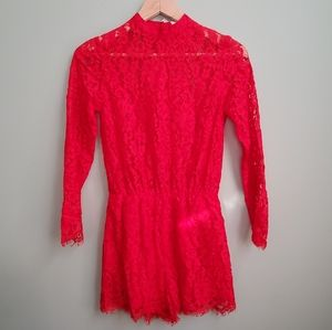 HOT Red Long Sleeve Romper
